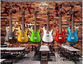 BHXINGMU Mural Personalizado Guitarra Eléctrica Retro Pared De ...