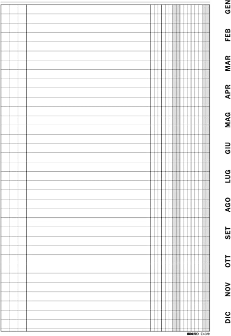 E4029 Scadenzario  Gennaio-Dicembre con spirale e indici plastificati 36 fogli f.to 9,9x17 EDIPRO