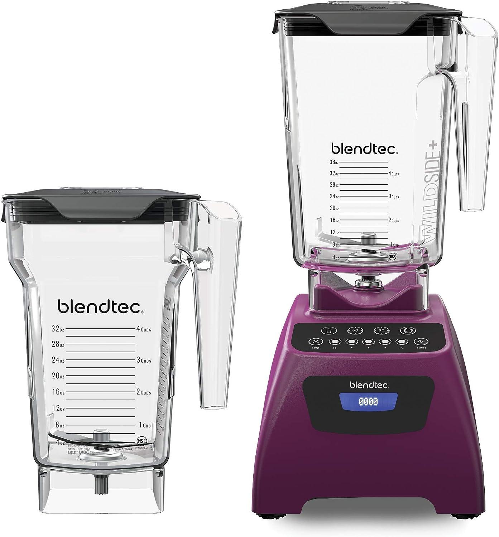 Blendtec Classic 575 Blender - WildSide+ Jar (90oz) and FourSide Jar (75 oz) BUNDLE - Professional-Grade Power - Self-Cleaning - 4 Pre-programmed Cycles - 5-Speeds - Orchid Purple
