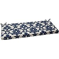 Pillow Perfect Outdoor/Indoor Basalto Navy Bench/Swing Cushion, 45″ x 18