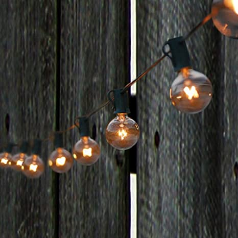 SPRINGROSE 50 Clear Patio String Globe Lights With Black Cord And 4 Extra  Bulbs