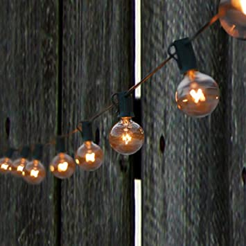Spring Rose(TM) 50 Clear Patio String Globe Lights With Black Cord And 2