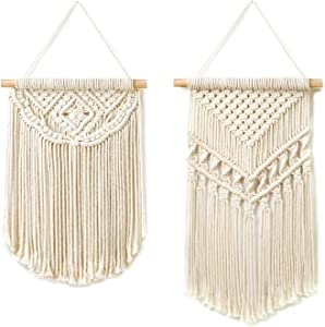 "Dahey 2 Pcs Macrame Wall Hanging Small Woven Tapestry Wall Art Decor,Boho Chic Home Decor Apartment Dorm Room Party Decoration,18"" L×10"" W and 15"" L×10"" W"