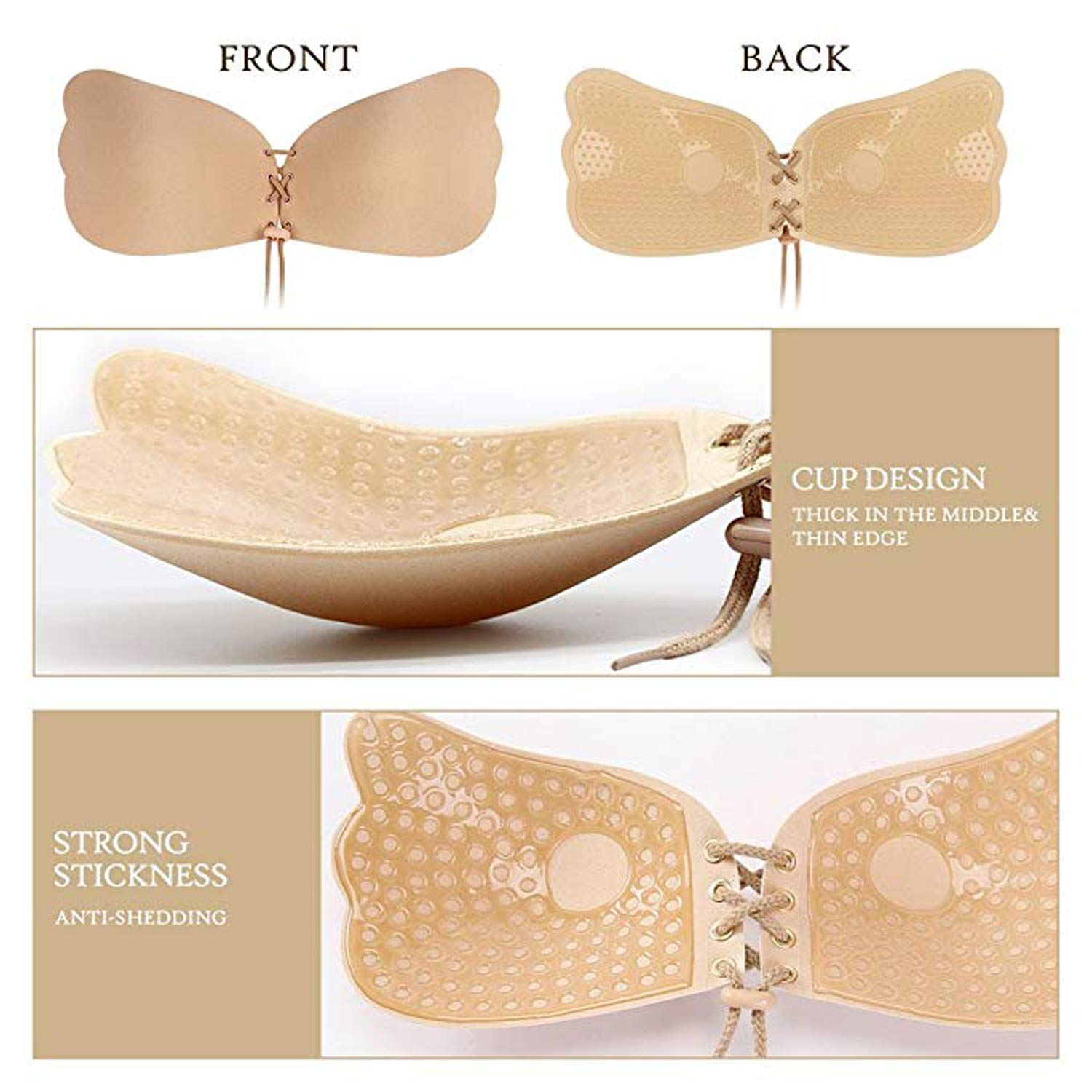 Mayper 1 Pack Self Adhesive Bra Strapless Backless Reusable Invisible Stick Push-up Silicone Bras