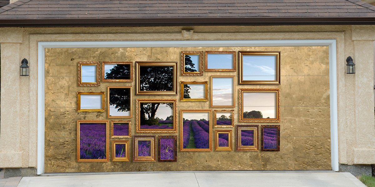 Re-Usable 3D Effect Garage Door Cover Billboard Sticker Decor Skin - Frames with Lavender - Sizes to fit your Garage.
