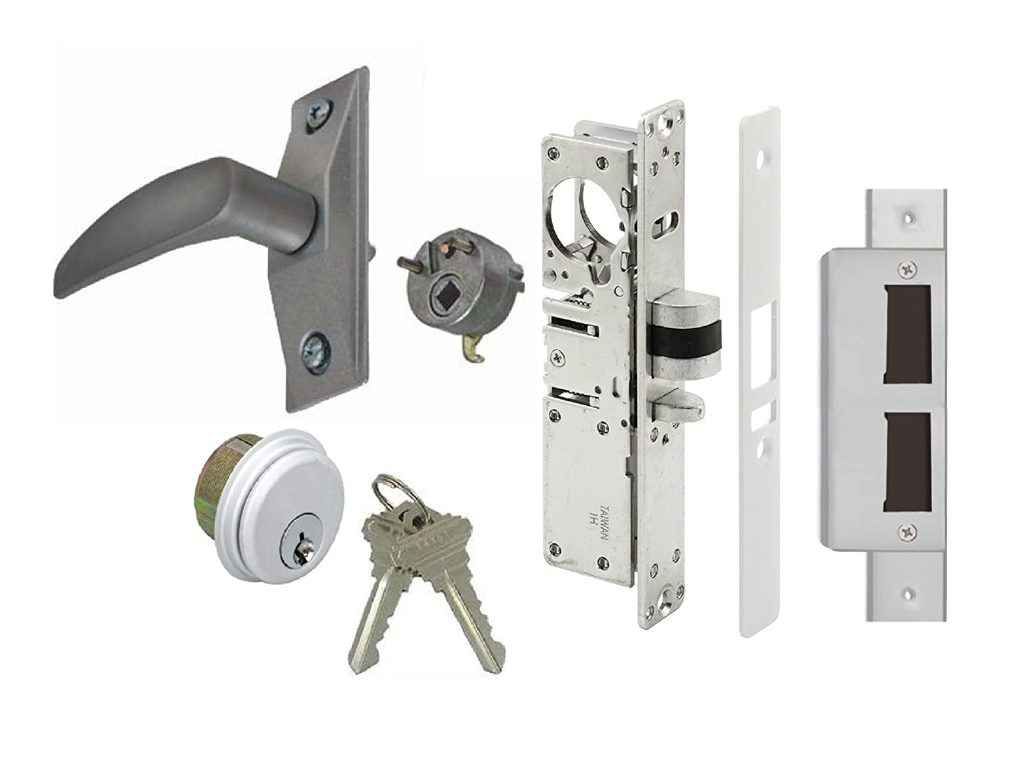 Choose Backset /& Handing Storefront Door Mortise Deadlatch Lock Exit Lever Handle Latch Kit 31//32 Backset, Push Door to Left Adams Rite Cam Aluminum
