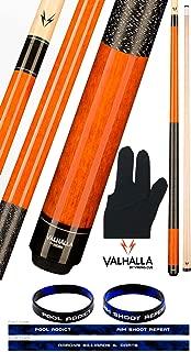 product image for Valhalla by Viking 2 Piece Pool Cue Stick Autumn Orange VA119 Irish Linen Wrap 18-21 oz. Plus Billiard Glove & Bracelet