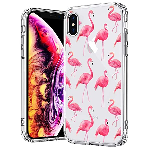 new product b0c21 8ca23 MOSNOVO Case for iPhone Xs/iPhone X, Cute Flamingo Tropical Clear Design  Printed Transparent Plastic Hard Back Case with TPU Bumper Protective Back  ...