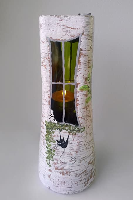 Hecho a mano soporte para velas Collage Botella Cristal Acrílico Decor