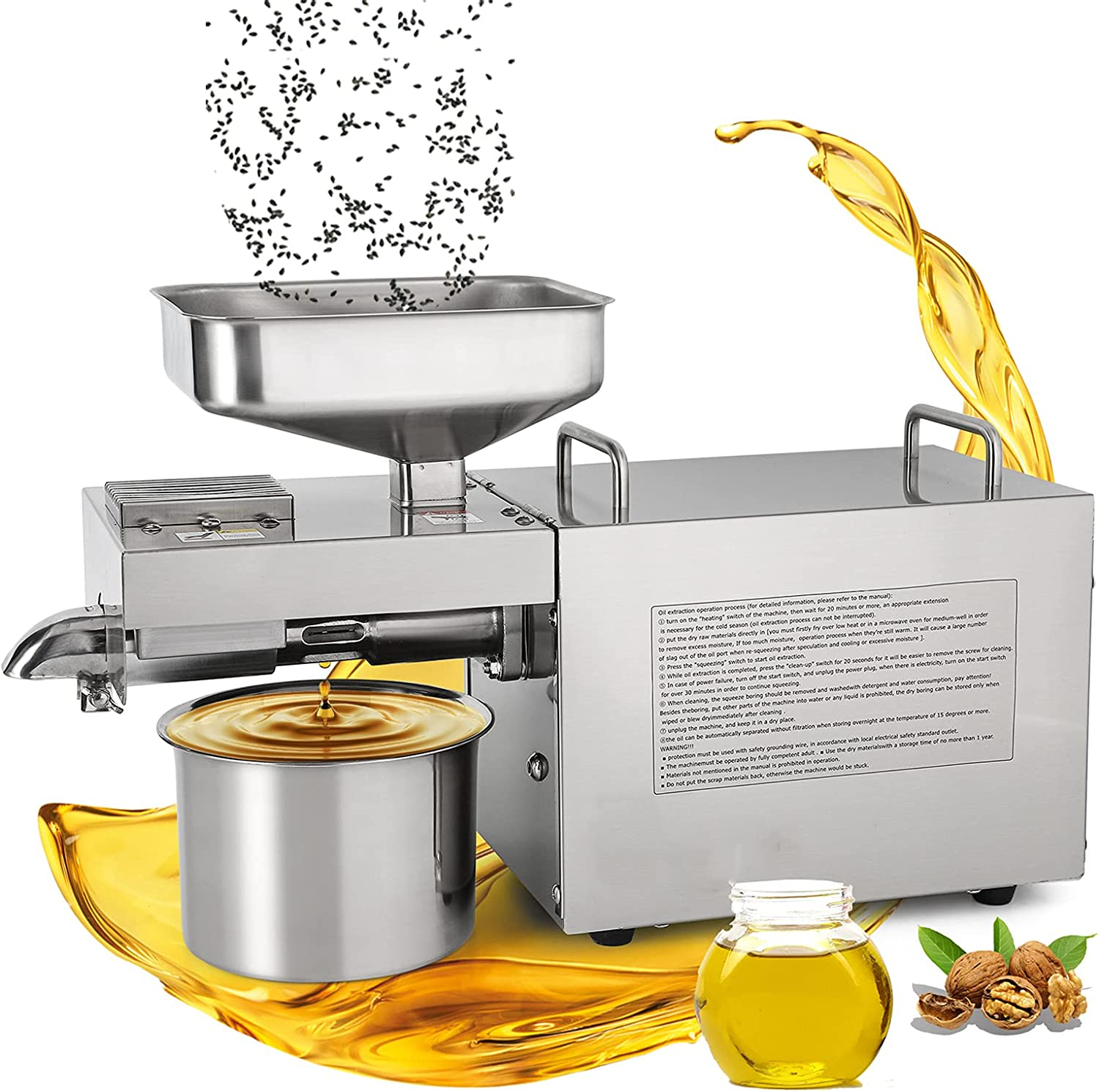 Moongiantgo Oil Press Machine 1500W Commercial Automatic Oil Extractor Presser 24H Continuous Work Hot Cold Oil Maker Stainless Steel Expeller for Seed Almond Coconut Walnut Sesame Castor Peanut