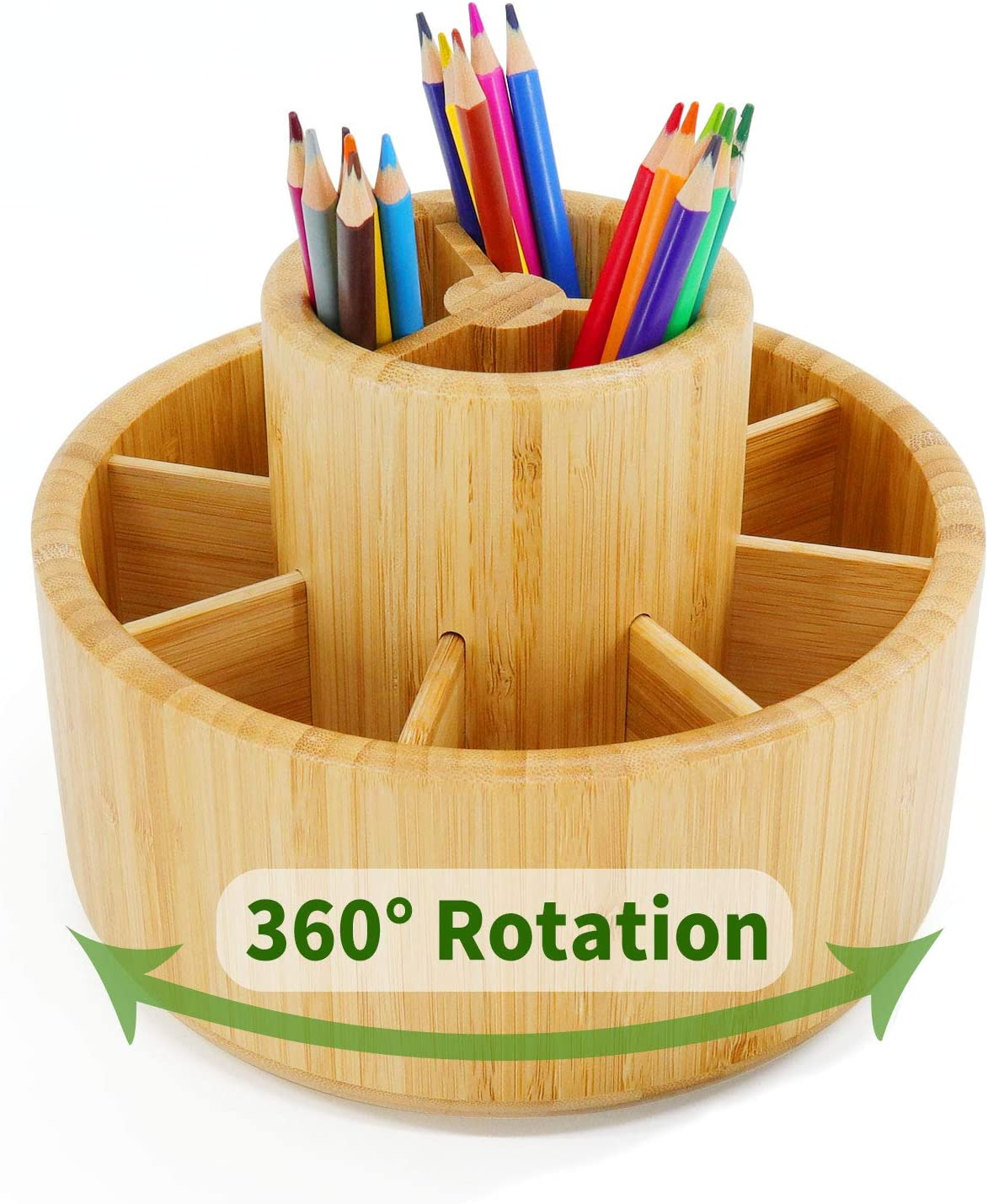 Art Supply Organizer with 6 Compartments Large Capacity Pencil Holder Marbrasse Bamboo Rotating Pen Organizer for Desk Home Office Supplies Desktop Storage Caddy for Colored Pencil,Pen,Marker