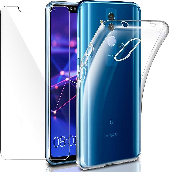 Cover Huawei Mate 20 Lite Custodia Pellicola Protettiva in Vetro Temperato, Leathlux Morbido Trasparente Silicone Custodie Protettivo TPU Gel ...