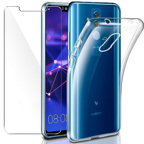 a basso prezzo fb4f8 32ba2 Cover Huawei Mate 20 Lite Custodia + Pellicola Protettiva in Vetro  Temperato, Leathlux Morbido Trasparente Silicone Custodie Protettivo TPU  Gel ...