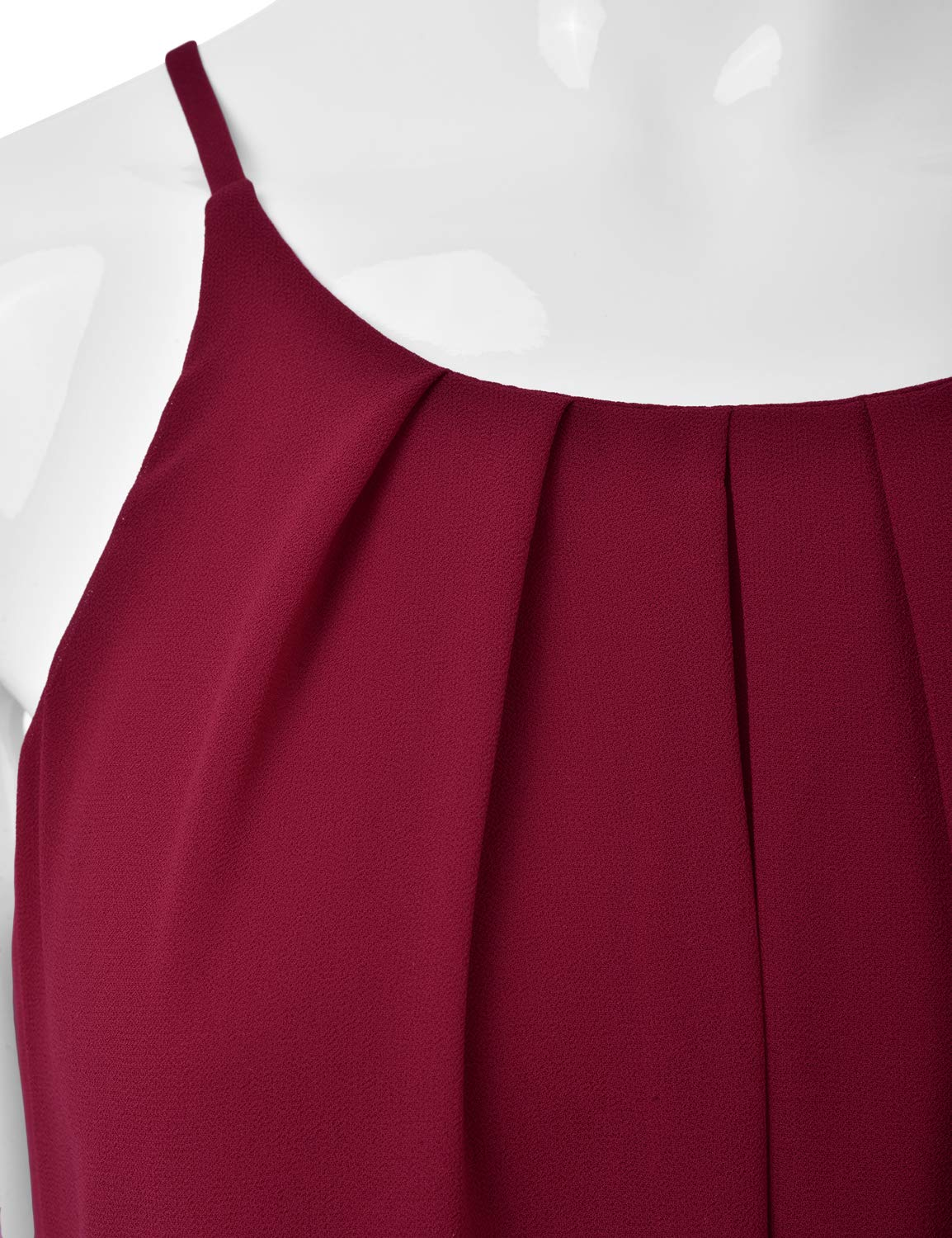 EIMIN Women's Crewneck Pleated Front Double Layered Chiffon Cami Tank Top Burgundy M by EIMIN (Image #4)