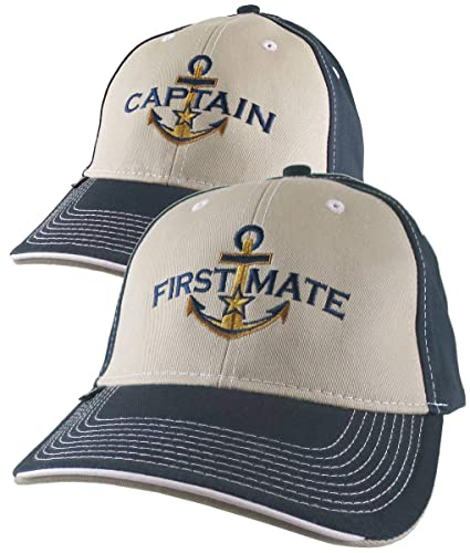 4eea4c3cd5304 Amazon.com  2 Hats Nautical Golden Star Anchor Captain + First Mate  Embroidery Adjustable Beige + Navy Structured Baseball Caps + Options to  Personalize  ...