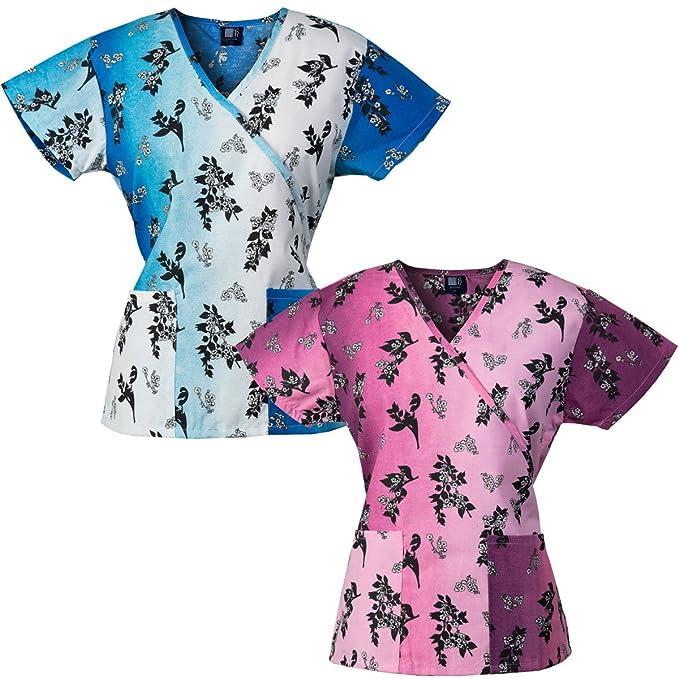 Medgear 2-PACK Womens Fashion Scrub Tops Mock-Wrap with Back Ties /& 2 Pockets