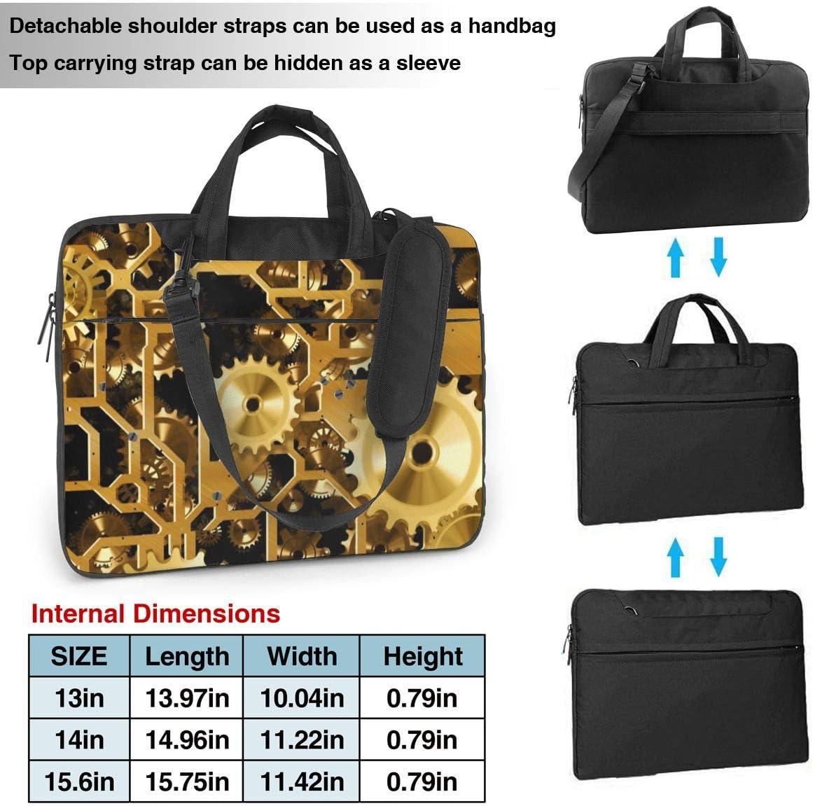 Clock Gear Printed Laptop Shoulder Bag,Laptop case Handbag Business Messenger Bag Briefcase