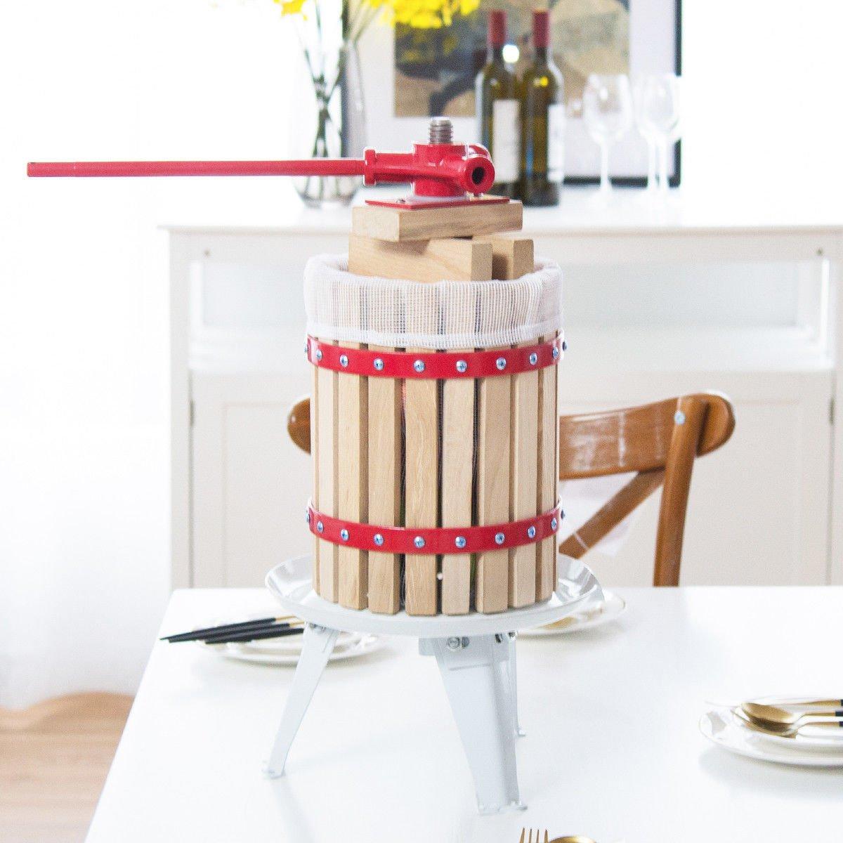 Costzon 1.6 Gallon (6 Liter) Fruit Wine Press Cider Apple Grape Crusher Juice Maker Tool Wood