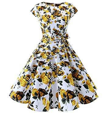 low priced 21472 d625e Huateng Abiti Vintage da Donna retrò a Pois Eleganti Abiti ...