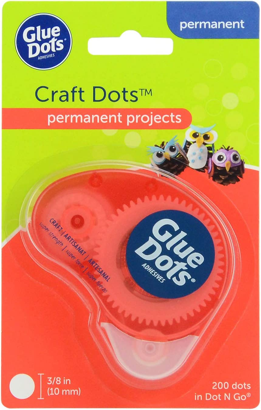 Glue Dots Permanent Dot N' Go Craft Dispenser with 200 (.375 Inch) Adhesive Dots (04484)