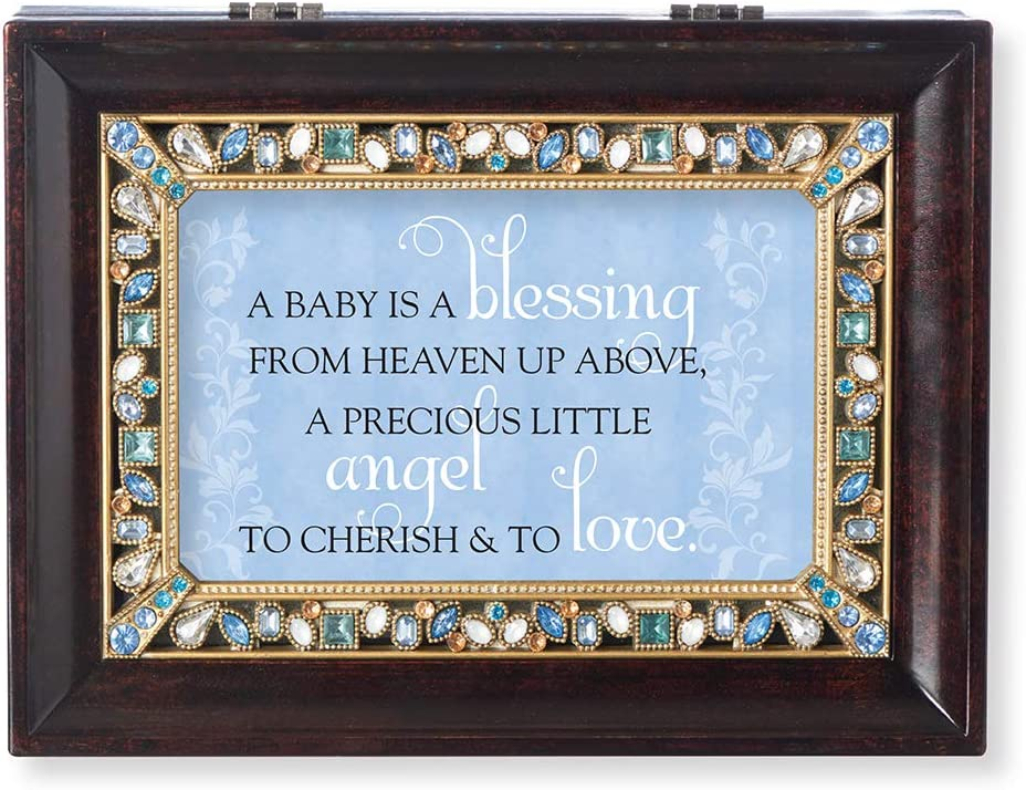 Roman Baby is a Blessing Brown Large Jeweled Music Box B0003