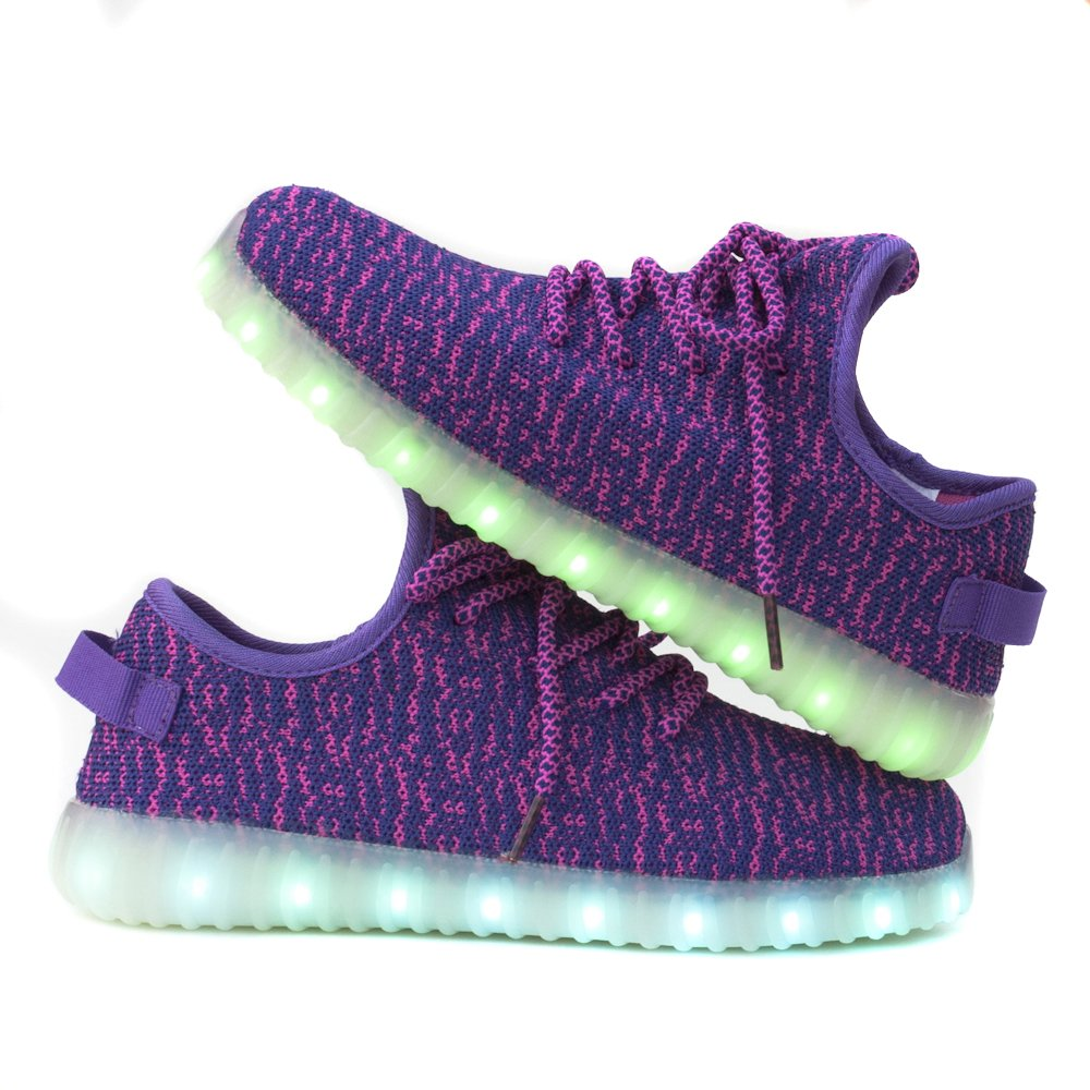 Teemway Christmas Gift Unisex's & Kids's LED Shoes USB Charge 5 Flashing Modes 7 Colors LED Flashing Sneaker(Purple,US 5/EUR 35/Women/225mm)