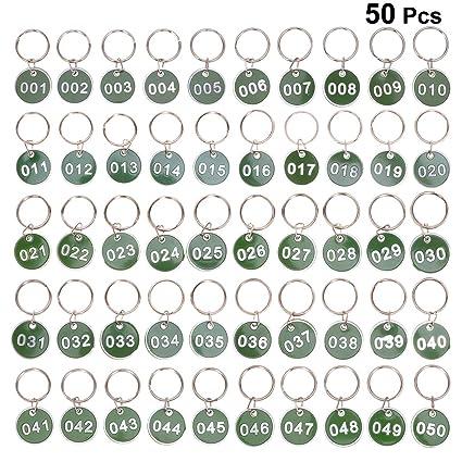 NUOBESTY 50Unidades Etiquetas Llavero De Número ...