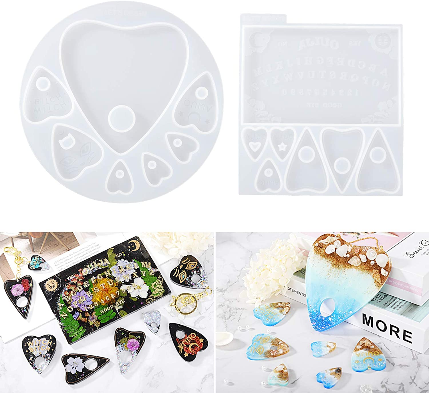 Gothic Ouija Heart Pendant Resin Casting Molds Jewelry Making Tools Art Crafts