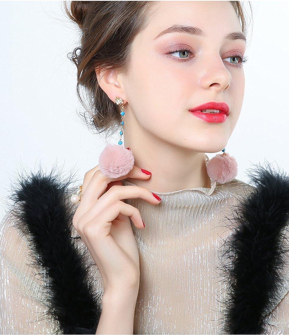 Rhinestone Earrings for Women Pearl Dangle Drop Crystal Earrings for Girl