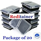 Reditainer®- 2 Compartment Microwave Safe Food Container with Lid/Divided Plate/Lunch Tray with Cover, 20 Pack
