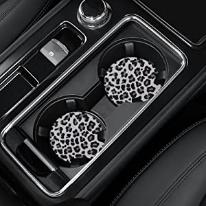4 Pack Car Coasters, 2.75inch Snow Leopard Print Car Cup Holder Coasters for Car, Neoprene Cup Pad Mat Car Coasters for Cup Holders for Women