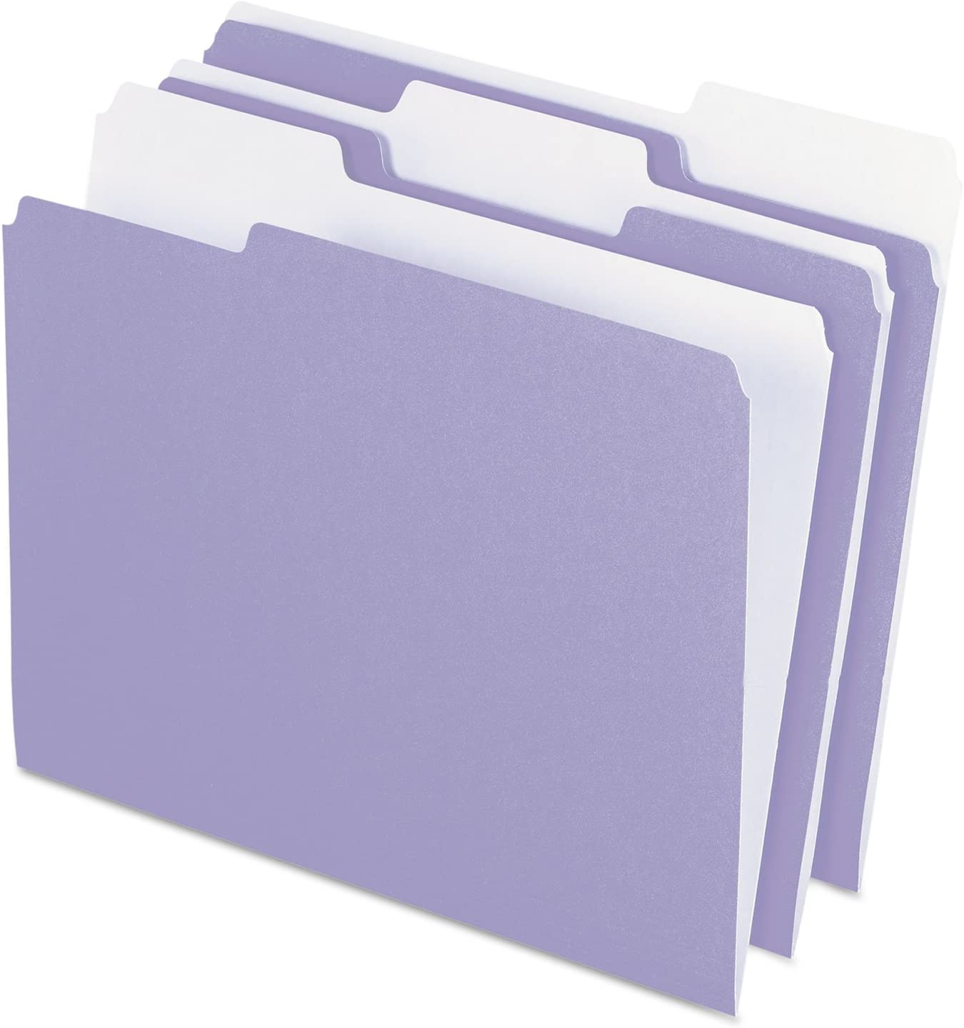 Pendaflexカラーファイルフォルダ、1 / 3カットトップタブ、手紙、ラベンダー/ライトラベンダー、100 /ボックス