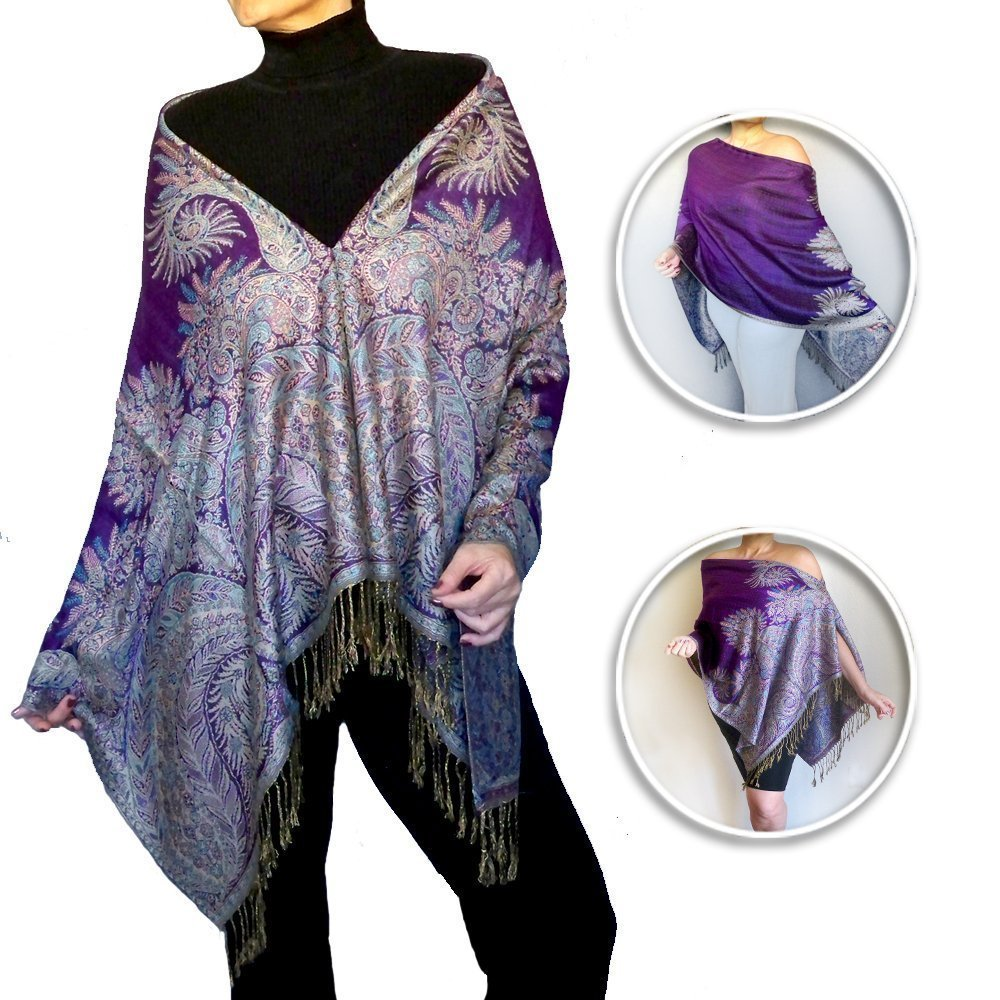 Plus Size Purple Pashmina Shawl Women's Poncho Top By ZiiCi