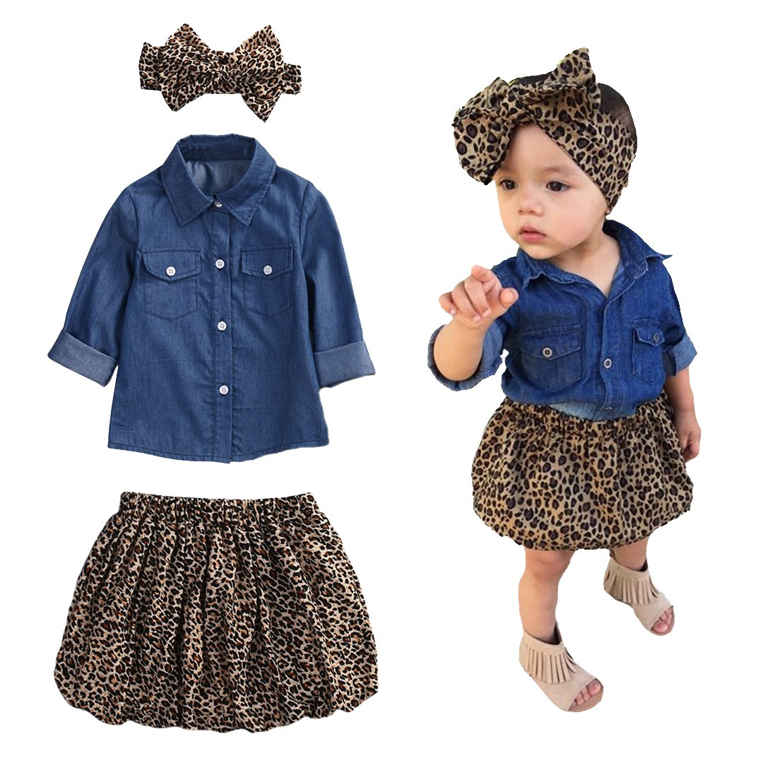 Princess Tulle Overlay Lace Dress+Headband 3pc Cute Baby Girl Blue Jean Shirt