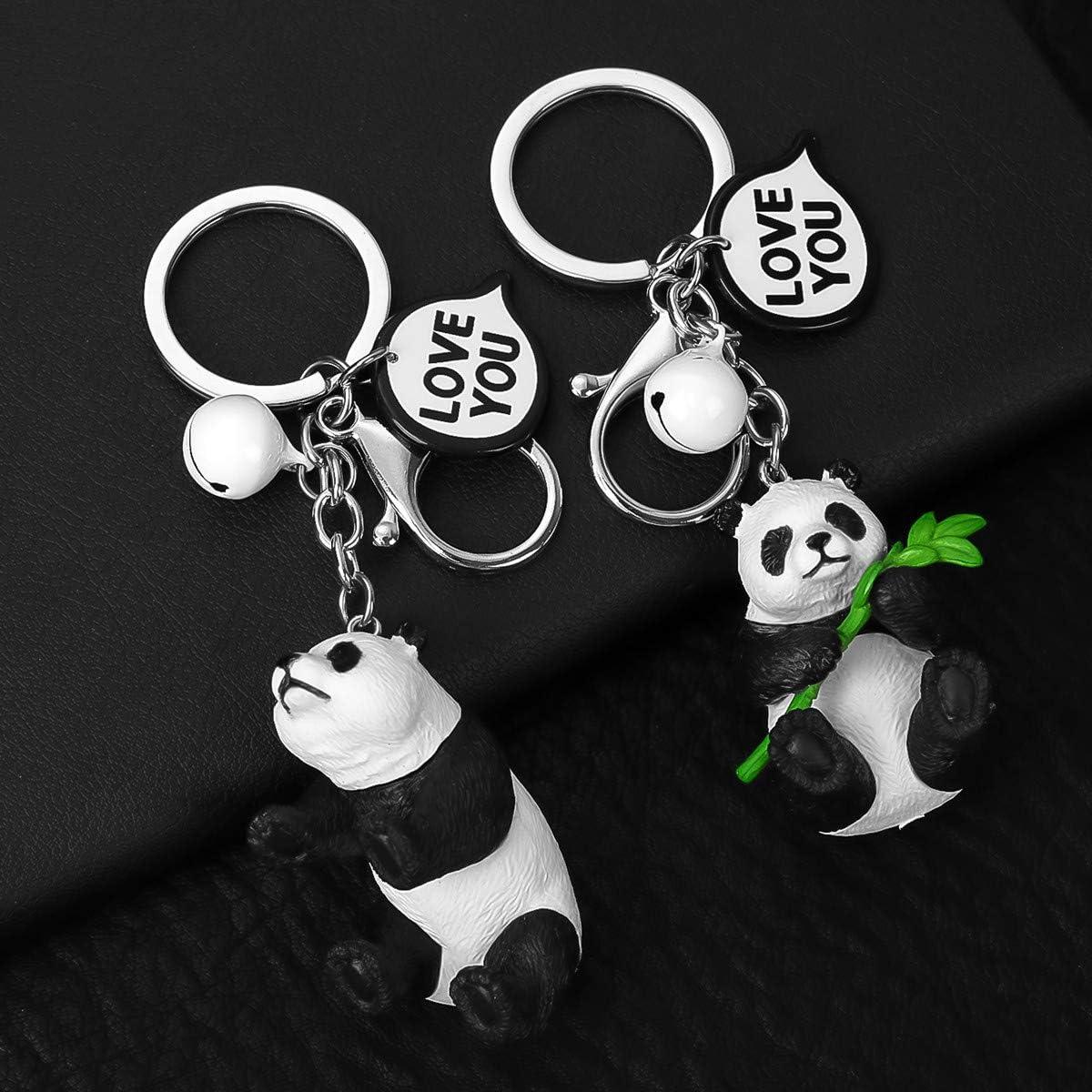Porte-cl/és Panda Porte-cl/és Porte-cl/és Faux LAN en Cuir tress/é avec Cadeau de Porte-cl/és pour Couple Amoureux Crazy-M 2 pi/èces Panda Couple Porte-cl/és Porte-cl/és