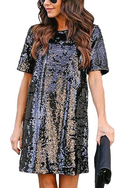 b341c21aebddb Zamtapary Le Donne Occasionale in Maniche Corte Paillettes Lustrini  Brillante Mini Vestito  Amazon.it  Abbigliamento