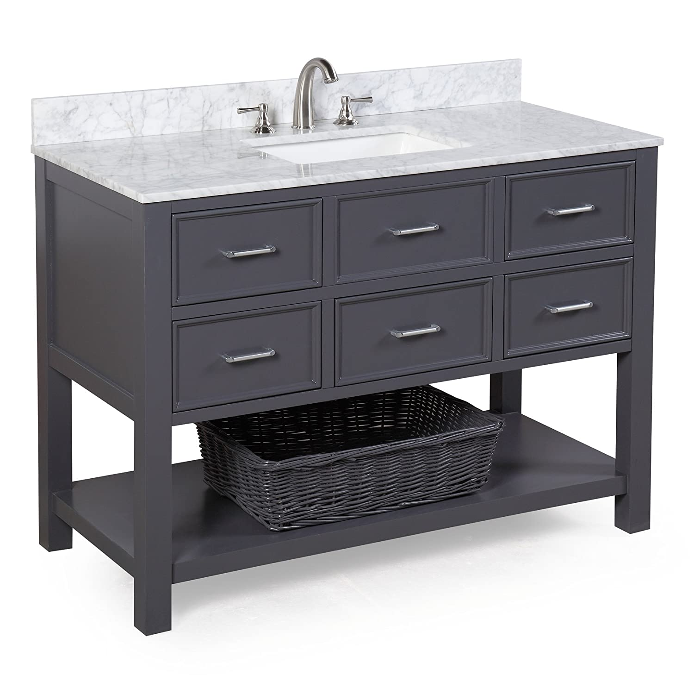 New Hampshire 48 inch Bathroom Vanity Carrara Charcoal Gray