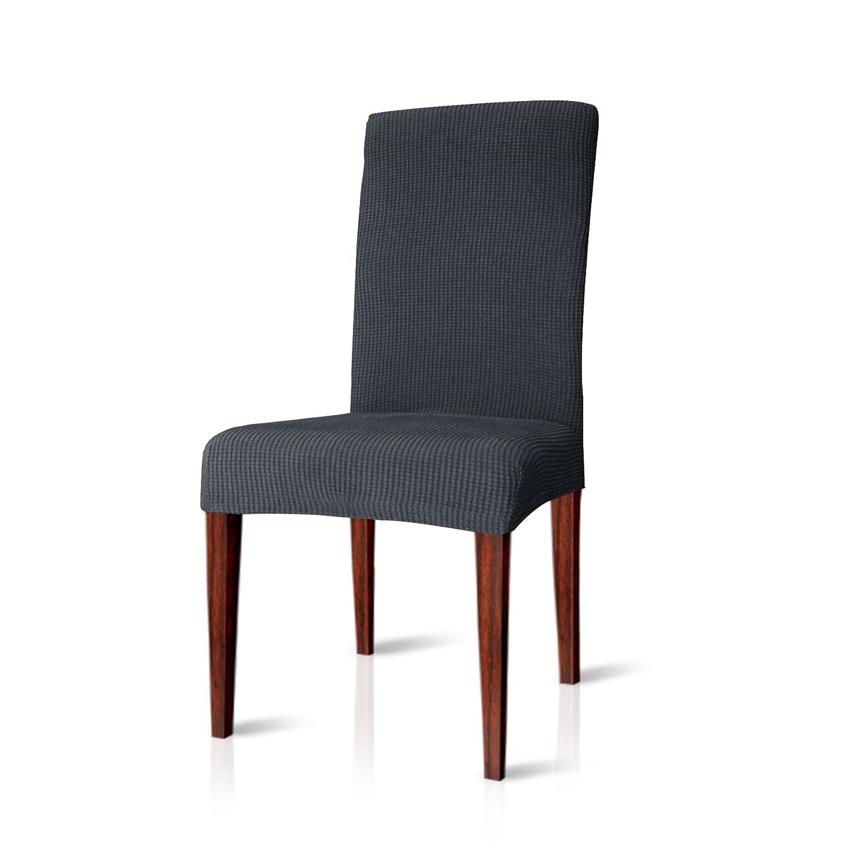 CHUN YI Jacquard Polyester Spandex Fabric Dining Chair Covers Chair Slipcovers Stretch (Brown, 2 PCS) LTD
