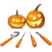 Halloween Pumpkin Carving Kit, Heavy Duty Stainless Steel Pumpkin Toolswith 10 kinds of Halloween Expression Stencils for Halloween Decoration, Easily DIY Halloween Pumpkin Jack-O-Lantern(4 Pieces)