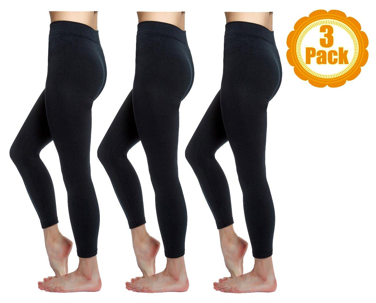 Love Charm Women's Seamless Fleece Lined Basic Leggings, Black, 3-Pack