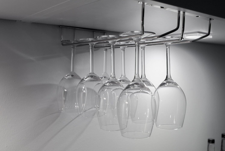 Holder glasses/Wine glass rack 16inch chrome with 2 Rails - 34 x 22 x 5 cm. Copa Design