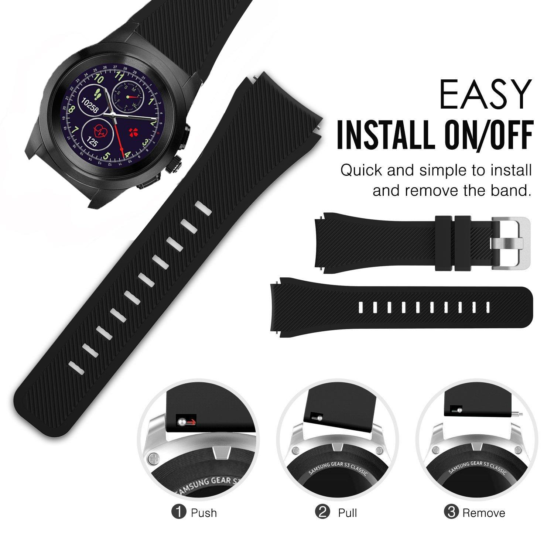 for MyKronoz ZeTime Band, Lamshaw Silicone Sport Replacement Band for MyKronoz ZeTime Smartwatch (Black)