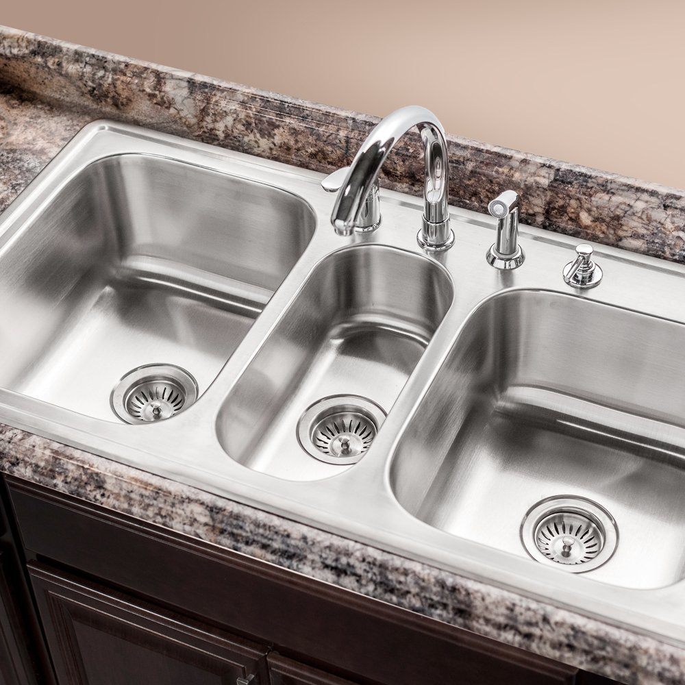 Triple Bowl Kitchen Sinks Houzer pgt 4322 1 premiere gourmet series topmount stainless steel 4 houzer pgt 4322 1 premiere gourmet series topmount stainless steel 4 hole triple bowl kitchen sink amazon workwithnaturefo
