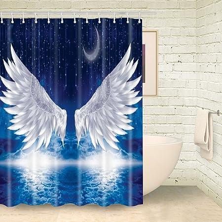 FOOG Vintage Shower Curtains Moon Star Curtain Angle Wings Bathroom ...