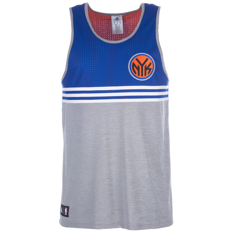 Grey blue adidas Mens New York Knicks Tank