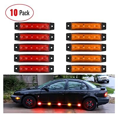 """Nilight 10 PCS Amber Red 3.8"""" 6 LED Amber Side Marker Light Indicator Light Rear side Marker Light for Truck Trailer RV Cab Boat Bus Lorry LED Marker Light Clearance Light, 2 Years Warranty.: Automotive"""