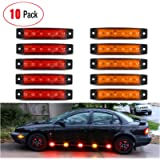 "Nilight - TL-13 10 PCS Amber Red 3.8"" 6 LED Amber Side Marker Light Indicator Light Rear side Marker Light for Truck…"