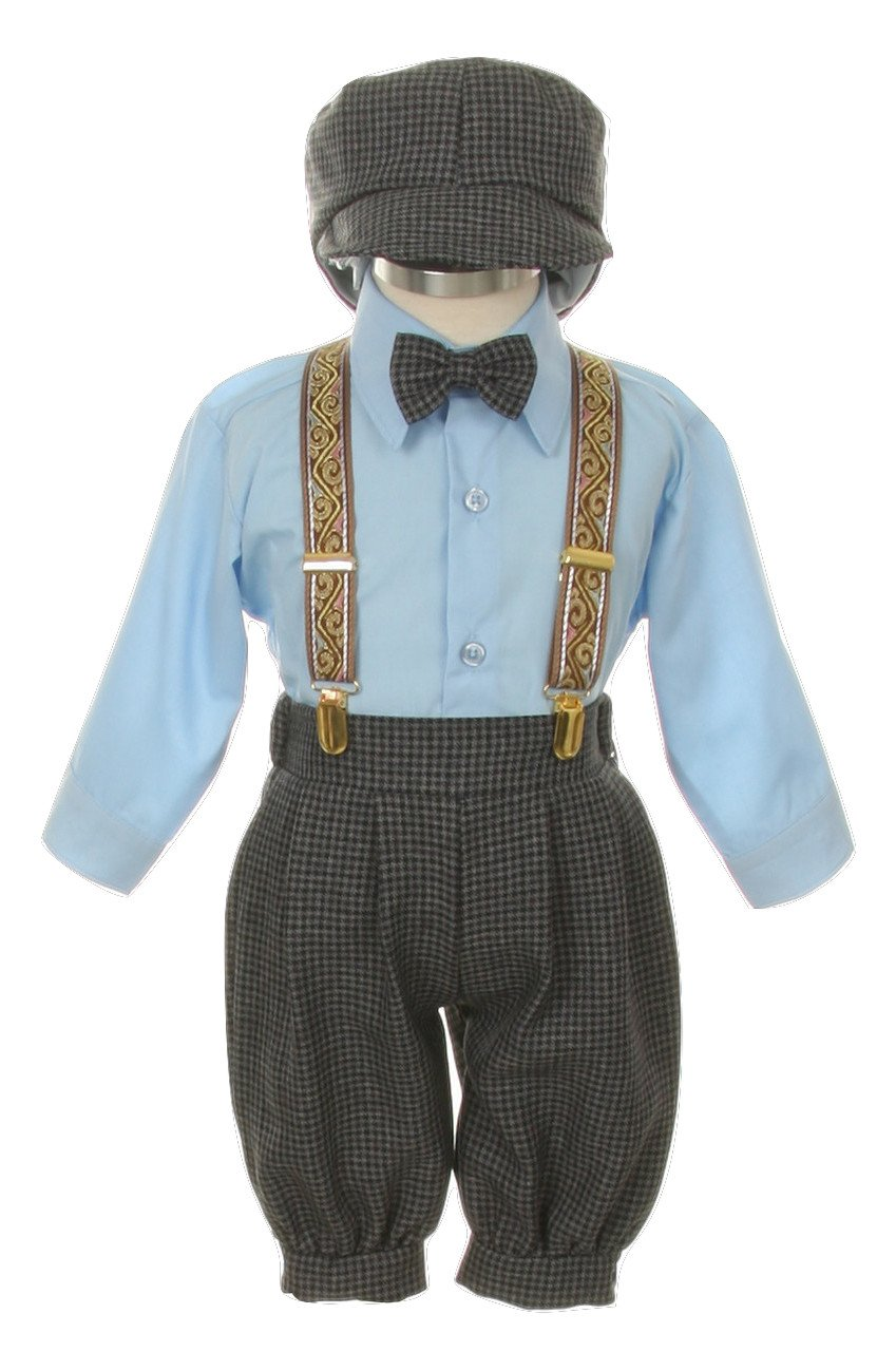 Vintage Dress Suit-Bowtie,Suspenders,Knickers Outfit Set for Boys-Toddler, Houndstooth-Blue-2T by SK