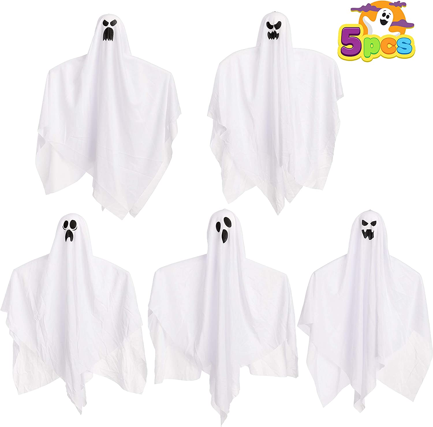 """27.5"""" Halloween Hanging Ghosts (5 Pack) for Halloween Party Decoration, Cute Flying Ghost for Front Yard Patio Lawn Garden Party Décor and Holiday Halloween Hanging Decorations"""