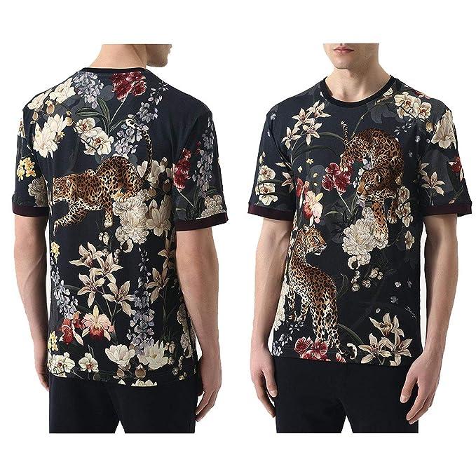T-Shirt Tshirt D G Dolce Gabbana Originale Leopardo Fiori Maglietta Moda  Regalo 48 Nero ae9d17d08b4